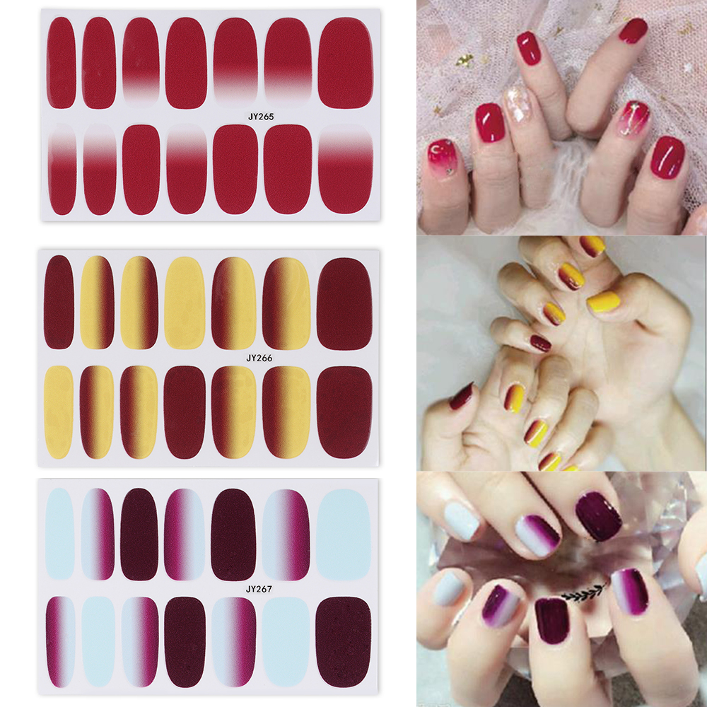 Diy Autumn Gradient Nail Art: Gradient Color Stickers Nail Wraps Full Cover Nail Polish