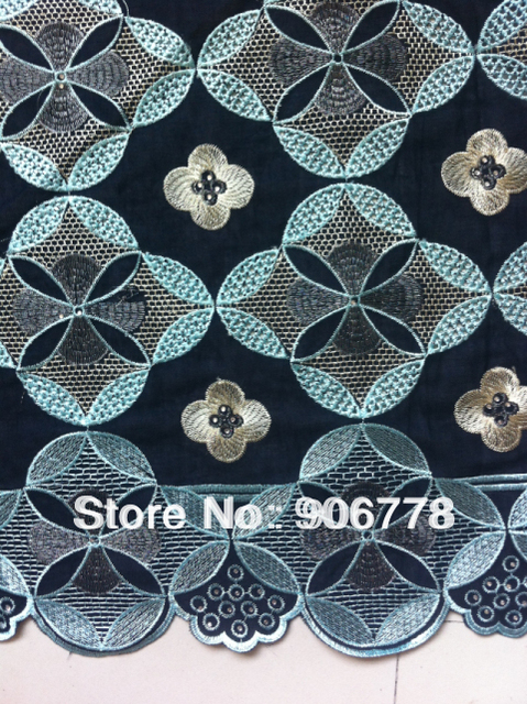 African heavy lace fabric navy blue with aqua+Swiss cotton voile lace+French lace with High quality pretty good for occasion