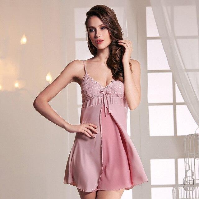 KISBINI Fashion Summer Women Sexy Nightgowns Night robe Women Sleepwear  Homewear Lace Silk Straps Bathrobe f6bf4b79a