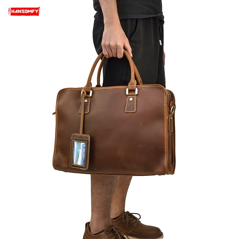 Genuine Leather Men's Briefcase Crazy Horse Leather Retro Handbag Shoulder Bag Male Tote Work Bag Business 15 Inch Computer Bags