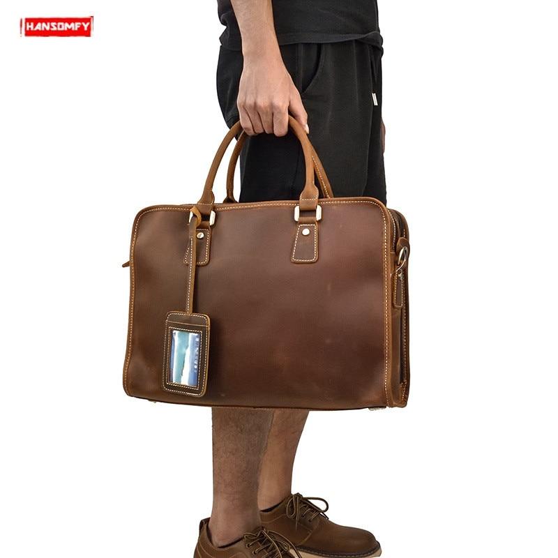Prawdziwej skóry mężczyzna teczki Crazy Horse skórzana torebka w stylu retro torba na ramię mężczyzna dużego ciężaru torba pracy biznes 15 Cal torby komputerowe w Teczki od Bagaże i torby na  Grupa 1