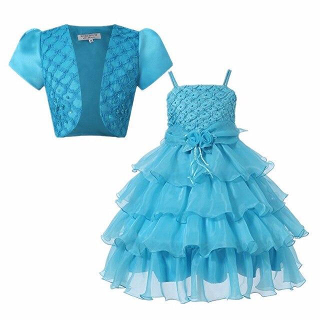 Девушка Платье 2 ШТ. Платье + Куртка Принцесса Вечеринка Дети Костюм Детские Одежда Для Девочек Высокого Качества День Рождения детская Одежда