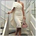 2016 de Un Hombro Vestidos de Noche Recto Blanco Simple Vestido Corto de Longitud de Té Vestidos de Noche vestido longo