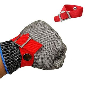 Image 3 - Blue Red Safety Cut Proof Stab Resistant Stainless Steel Metal Mesh Butcher Glove High Performance Level 5 Protection