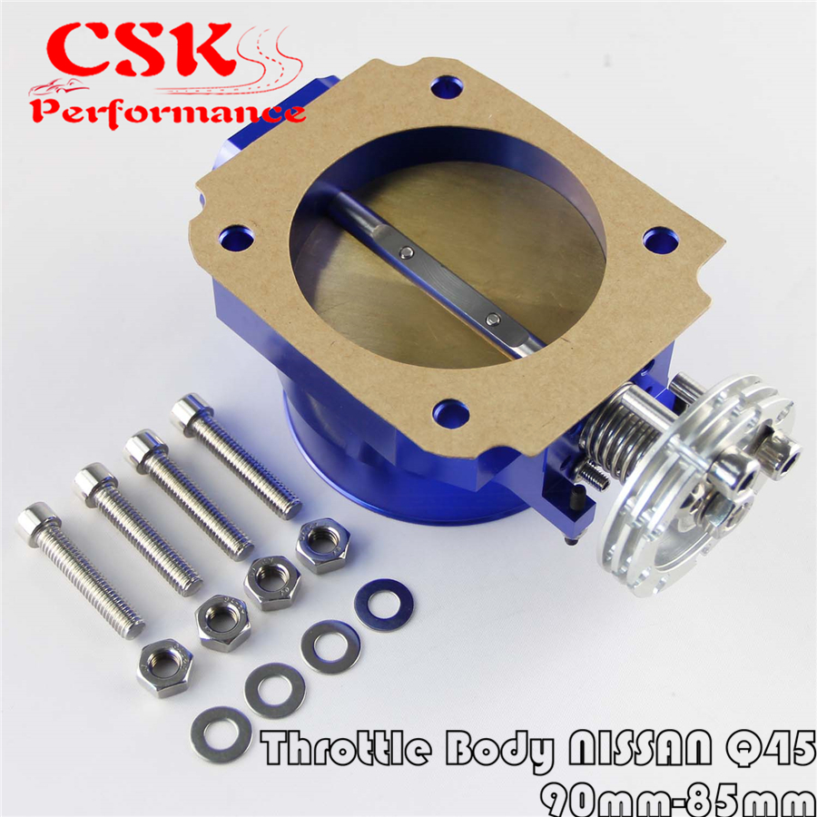 90MM-85mm Q45 Throttle Body <font><b>Intake</b></font> <font><b>Manifold</b></font> FOR NISSAN <font><b>RB25DET</b></font> RB26DET RB20DT GTS BLUE image