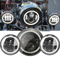 For Harley Motorcycle Light Electra Glide Softail Fat Boy Touring 7 Inch Motor For Harley LED Headlight with 4.5 Inch Fog Lamps