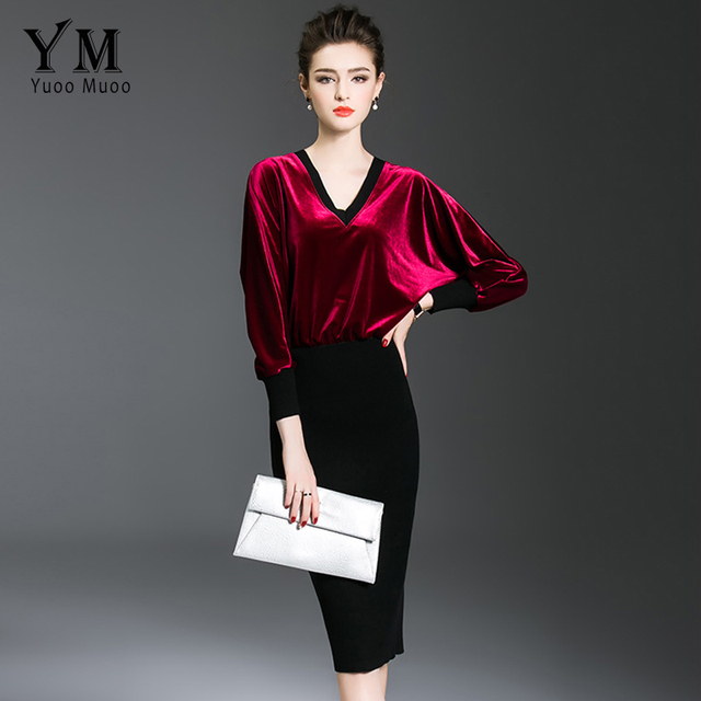 1f080b7a4f8d3 YuooMuoo New Women Autumn Velvet Dress Elegant Knee-length Office Dress V- neck Batwing