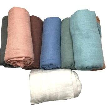 Cor sólida impressão ativa muito macio 70% fibra de bambu 30% algodão musselina bebê cobertor swaddle cobertores de cama recém-nascidos