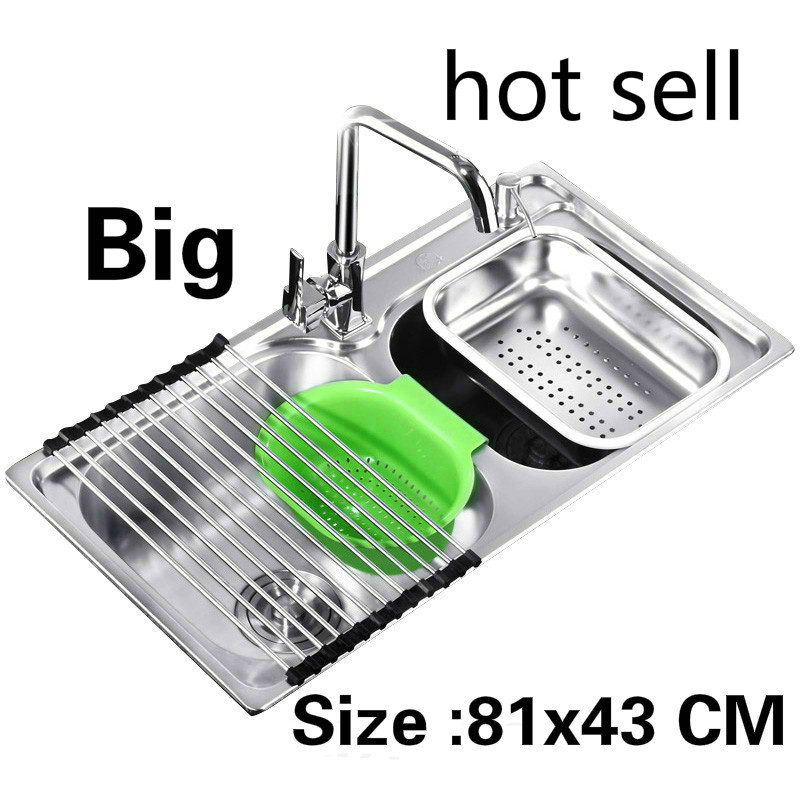 Free shipping Apartment big kitchen double groove sink standard 304 stainless steel do the dishes hot sell 81x43 CMFree shipping Apartment big kitchen double groove sink standard 304 stainless steel do the dishes hot sell 81x43 CM