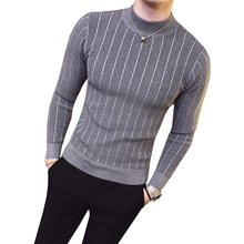 Pullover Men 2018 Male Casual Sweater Man stripe Solid Color Comfortable Mens Half Turtleneck Sweater Slim Fit Knitted top