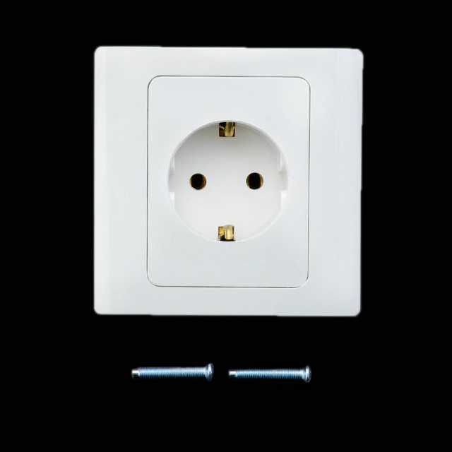 EU Wall Power Socket Grounded 16A EU Standard Electrical Outlet ...