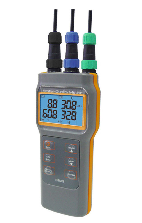Portable Water Quality Meter handheld multiparameter pH conductivity Salinity DO tester 3 probes used at same time IP67 handheld water quality tester cond conductivity meter az 8301