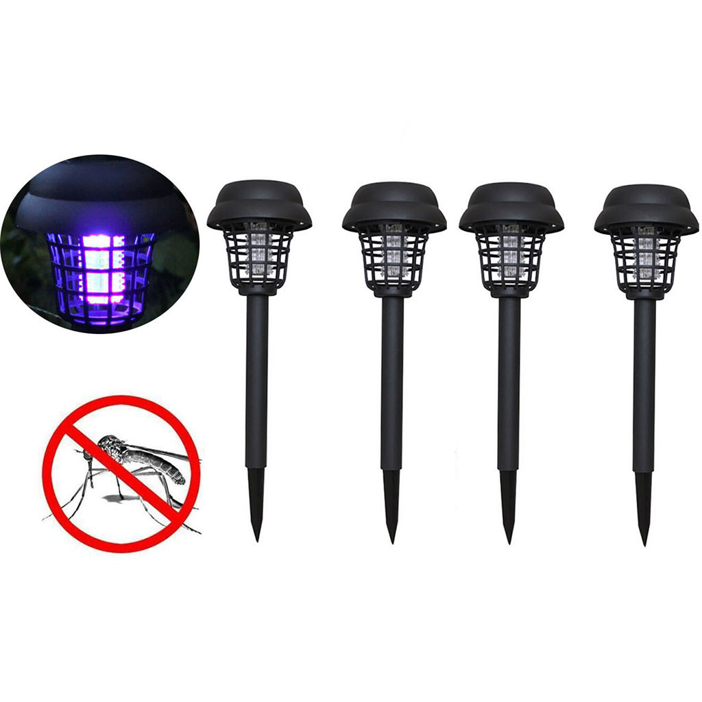 4PC Mosquito Repellent Killer Lamp Solar Powered LED Light Mosquito Pest Bug Zapper Insect Killer Lamp Garden Path Lighting