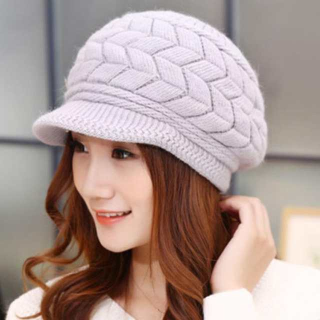 890d2cba0 2019 Winter New Fashion Newsboy Caps Women Winter Warm Double-deck Hat  Headwear Knitted Crochet Hats Sweet Ladies Outfits Caps