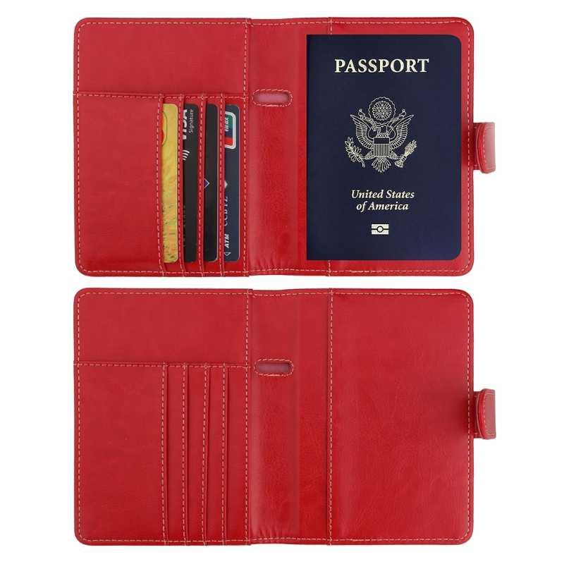 793249b73a1 ... THINKTHENDO Passport Holder Cover RFID Blocking Hasp Leather Wallet for  Travel Card Case Organizer Passport Cover ...