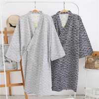 New Simple Japanese Kimono Robes Men Spring Long Sleeved 100 Cotton Bathrobe Fashion Casual Waves Dressing