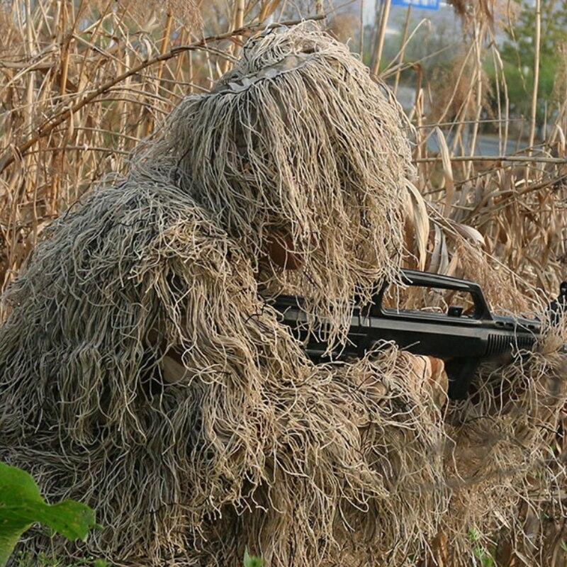 Militaire Camo chasse vêtements Ghillie costume 5 pièces capuche + ceinture + haut + pantalon + sac ensemble Sniper Ghillie Camouflage 3D costume tactique Uniforme - 3