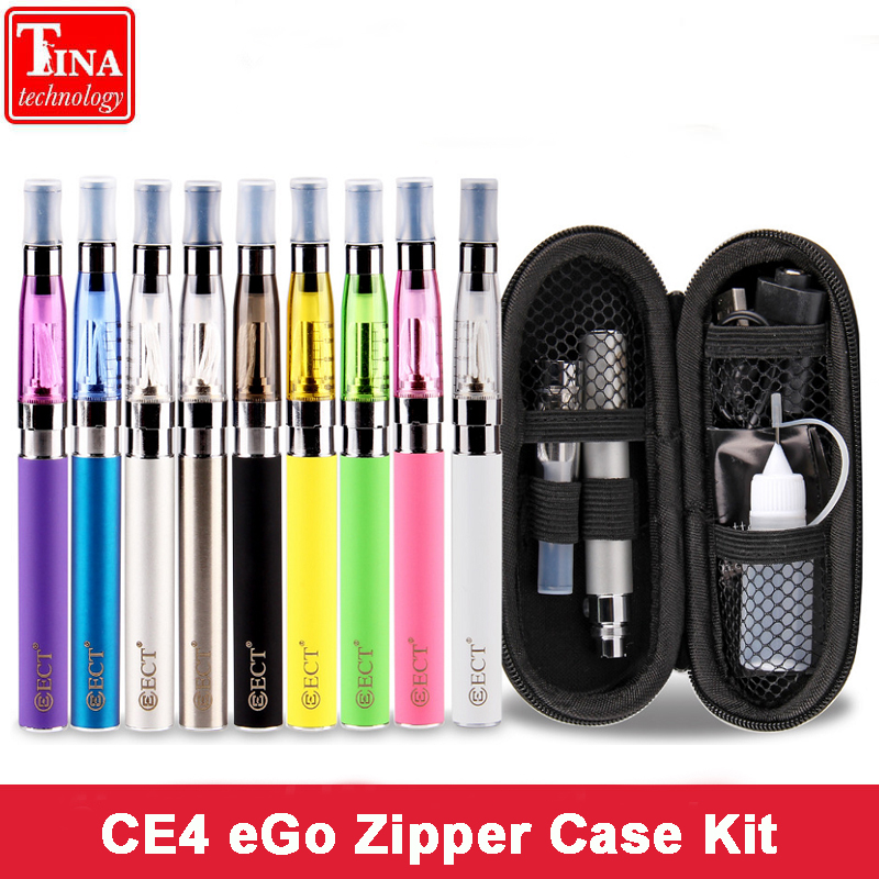 ECT eGo CE4 e Cigarette Zipper Case eGo Kit 650mah 900mah 1100mah 1300mAh ego t Battery CE4 Atomizer 1.6ml Electronic Cigarette