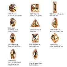 Mixed Shapes Sew on Stones 001GSHA Crystal Golden Shadow Rhinestones buttons DIY garment Craft Dress Rivoli Drop Strass