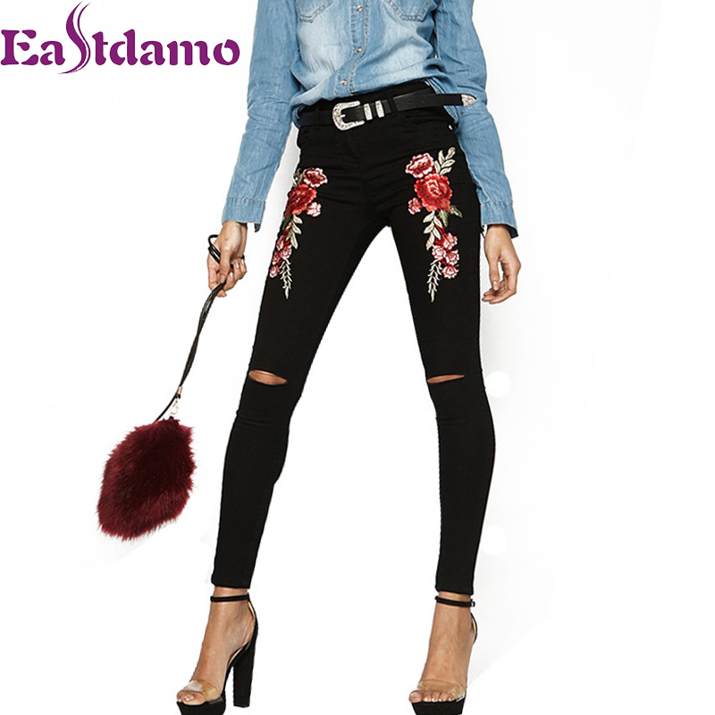 Eastdamo 2017 Black Embroidered Jeans for Women 3D Rose Embroidered High Waist Ripped Jeans Hole Sexy Slim Pencil Denim Pants lace hollow black denim shorts women ripped jeans with high waist sexy thin jeans for girls hole denim shorts women