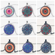 Hot! 2019 Ethnic Wind Mandala Kaleidoscope Pendant Necklace Glass Convex Round Silver Charm Pendant Men and Women Sweater Chain 925 pure silver silver manufacturers china wind auspicious elephant pendant and intime stereo sweater chain pendant