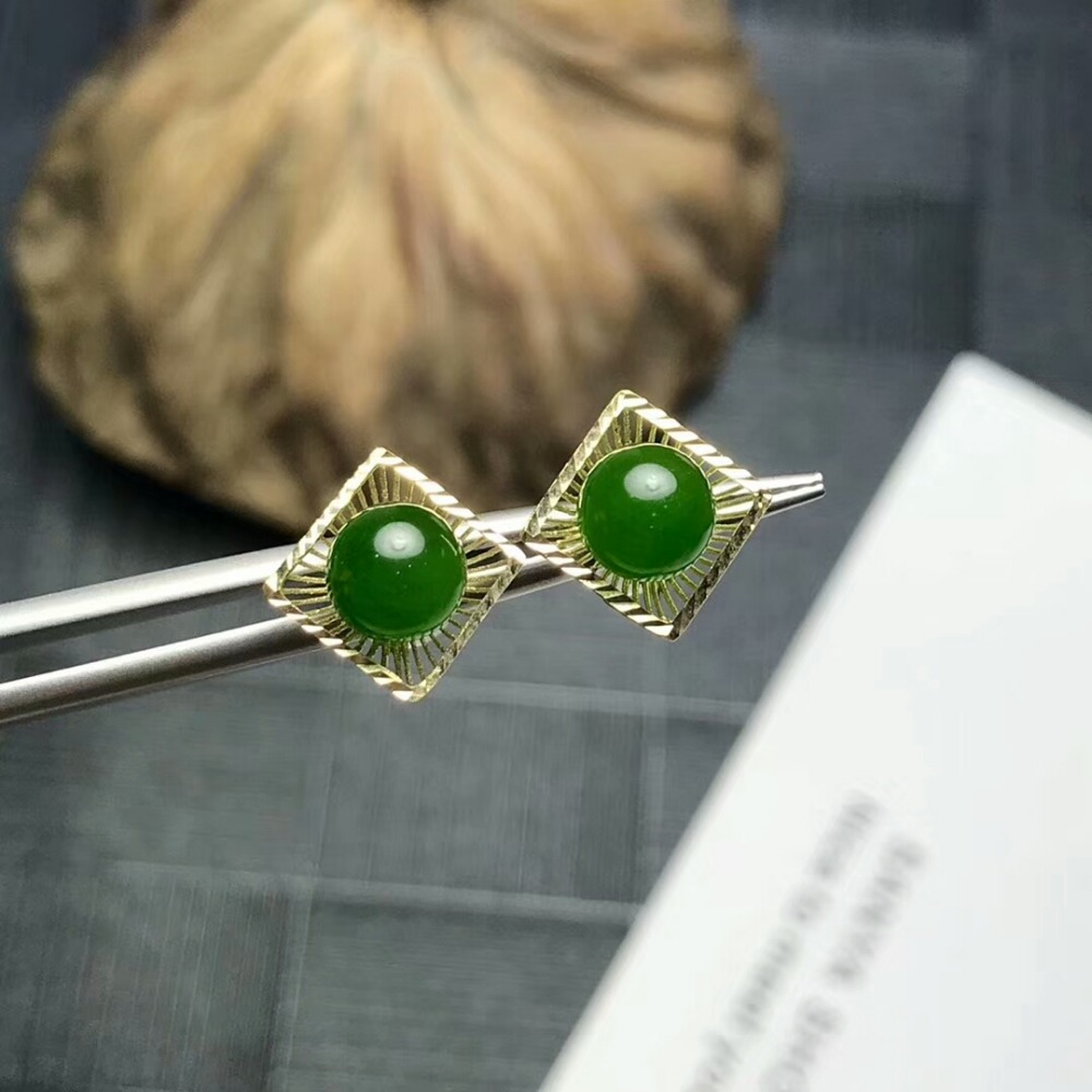 [MeiBaPJ]Natural Jasper Gemstone Simple Stud Earrings Real 18K Gold Green Stone Earrings Fine Charm Jewelry for Women copper jewelry leopard head hanging pearl stud earrings tiger head green rhinestone black stud earrings for women