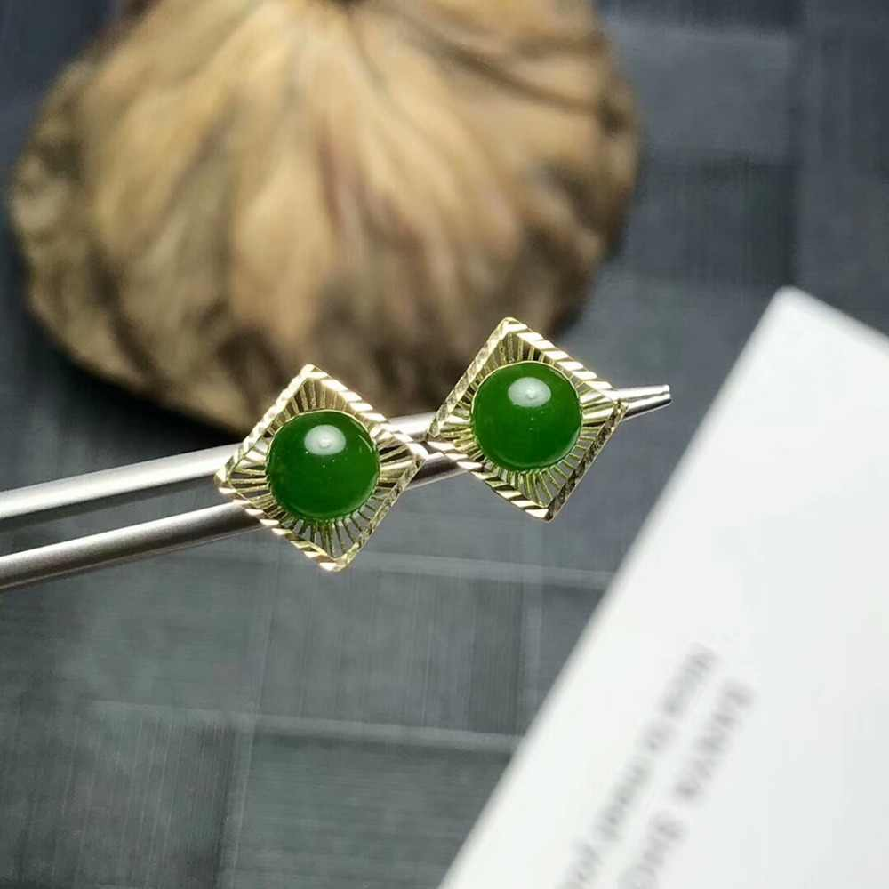 [MeiBaPJ] Jasper อัญมณีสตั๊ดต่างหู 18K หินสีเขียวต่างหู Charm เครื่องประดับสำหรับผู้หญิง