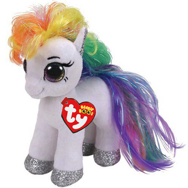0aa9f34fa486e Detail Feedback Questions about Ty Beanie Boos White Horse with Rainbow  Hair Plush Doll Toys With Original Tag 6