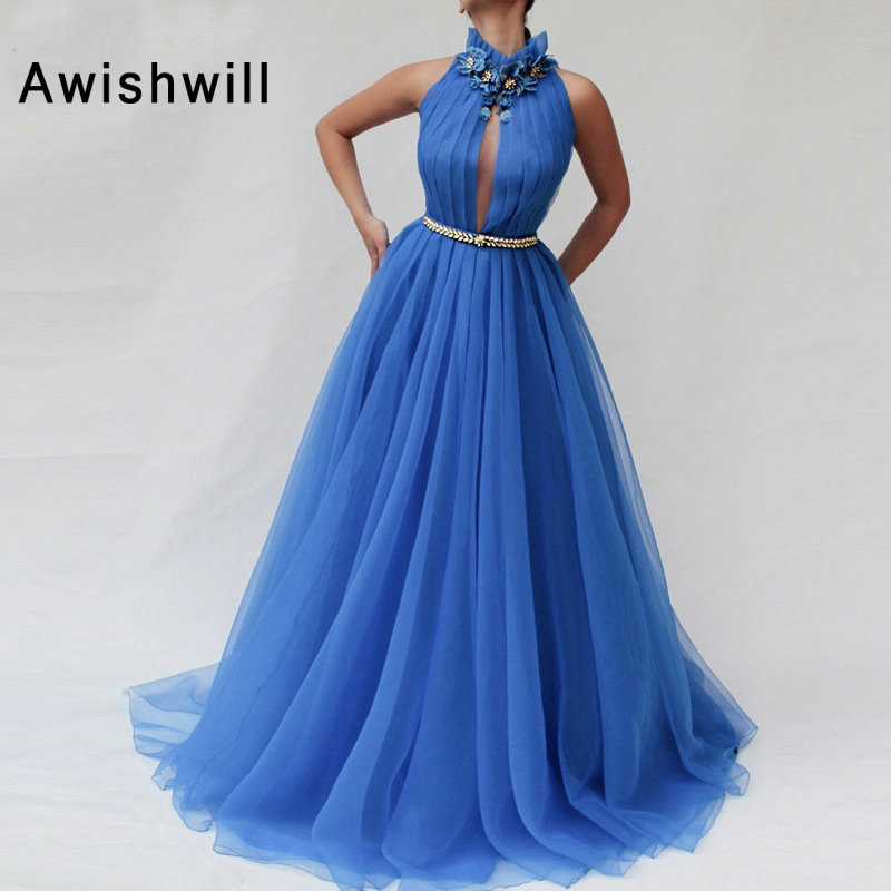 4 (1) Blue 2019 Prom Dresses A-Line High Neck Beaded Flowers Tulle Long Party Maxys Long Prom Gown Evening Dress Robe De Soiree