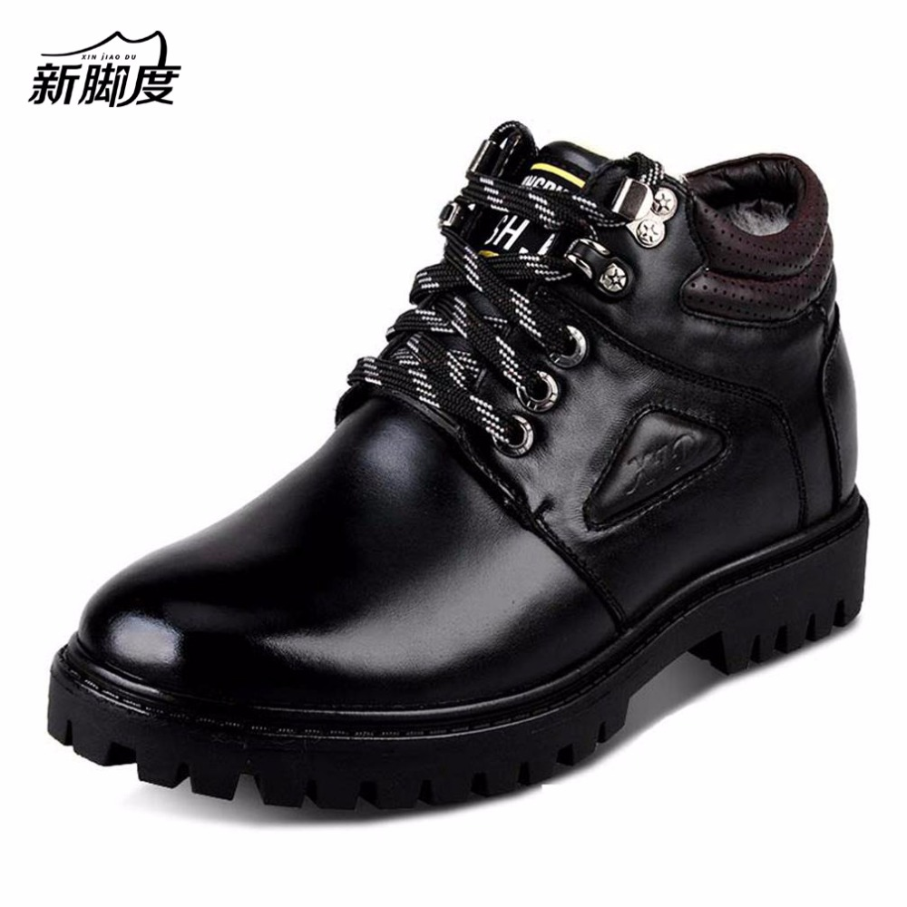 X7726 Mens Ankle Wool Snow Boots Genuine Leather Waterproof Keep Warm Winter-Height Increase Elevator Boots 6CM