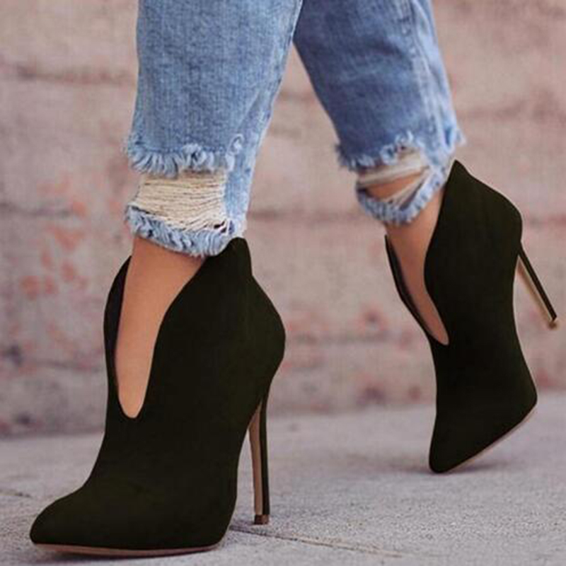 KHTAA Women Flock Pointed Toe Slip On Autumn Ankle Boots Plus Size Ladies Sexy Thin High Heels Female Platform Fashion Shoes mcckle 2017 ladies fashion sexy autumn winter ankle boots female slip on zip black solid platform high heels plus size34 43