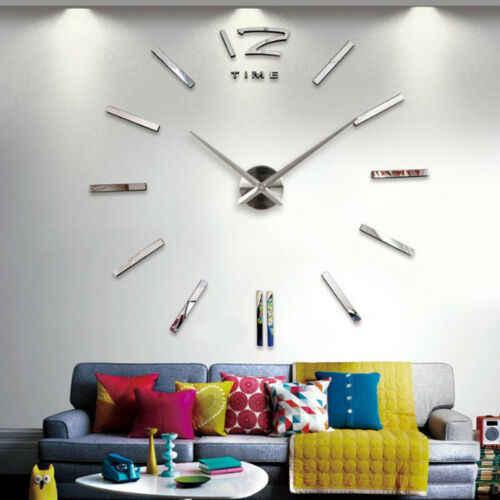 Diy nowoczesny zestaw Groß Wanduhr 3D Spiegel Oberfläche Aufkleber Heimbüro stylowy zegar ścienny 3D