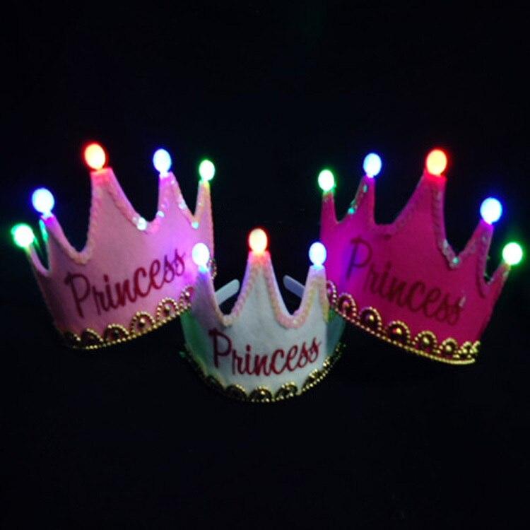 10pcs / lot 5Leds Glowing Princess Sretan Rođendan Tiara Crown - Za blagdane i zabave - Foto 3
