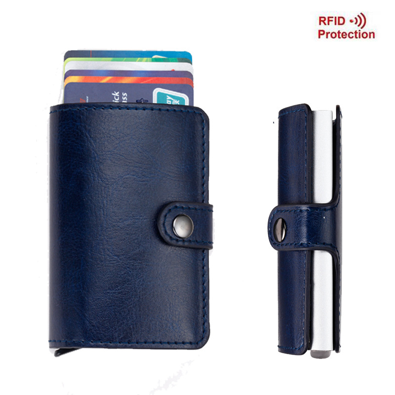 Antitheft Men Wallets Slim Mini RFID Wallet Automatic Business Card Holders Pop Up Aluminum Wallet Credit