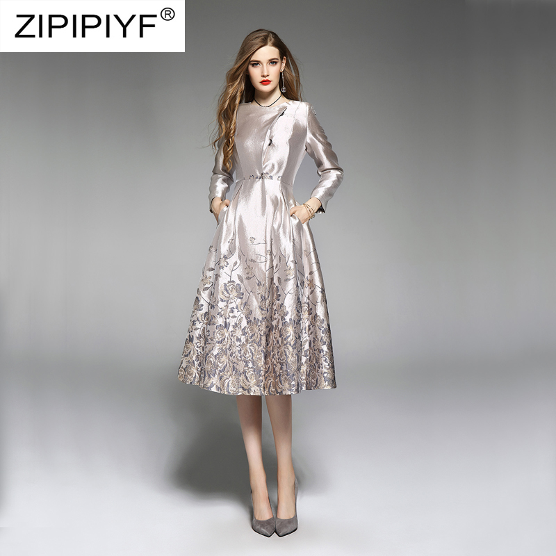 National Style Luxury Women Dresses Floral  Jacquard Long Sleeve O Neck Ball Gown Vintage Dress Single breasted Chic Dress Z347