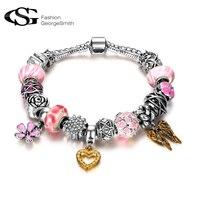 Romad Friendship Bracelet Silver Plated Pink Heart Shaped Winter Bracelet Romantic Charm Bracelets Bangle Fashion Body