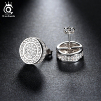 Classic Platinum Plated Silver Stud Earring Micro Paved AAA Austrian Cubic Zirconia For Party Fashion Women