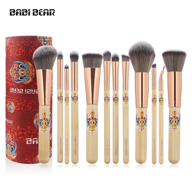 BABI BEAR 12PCS Makeup Brushes Set Bamboo Make Up Brush Soft Collection Kit Powder Contour Eyeshadow Eyebrow Brushes with Holder