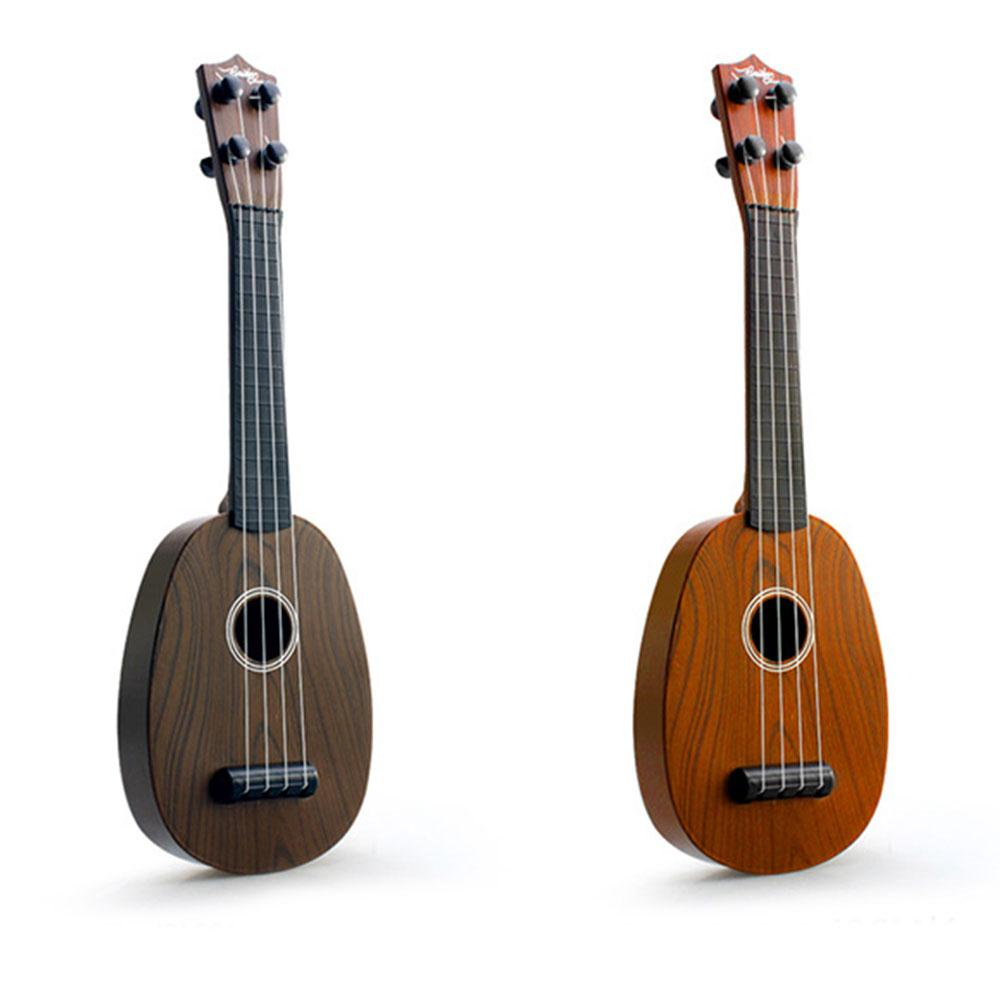 41cm Ukelele Guitar Simulation Wood Grain Music Art Educational Instrument Gifts Black+Gray Plastic Durable