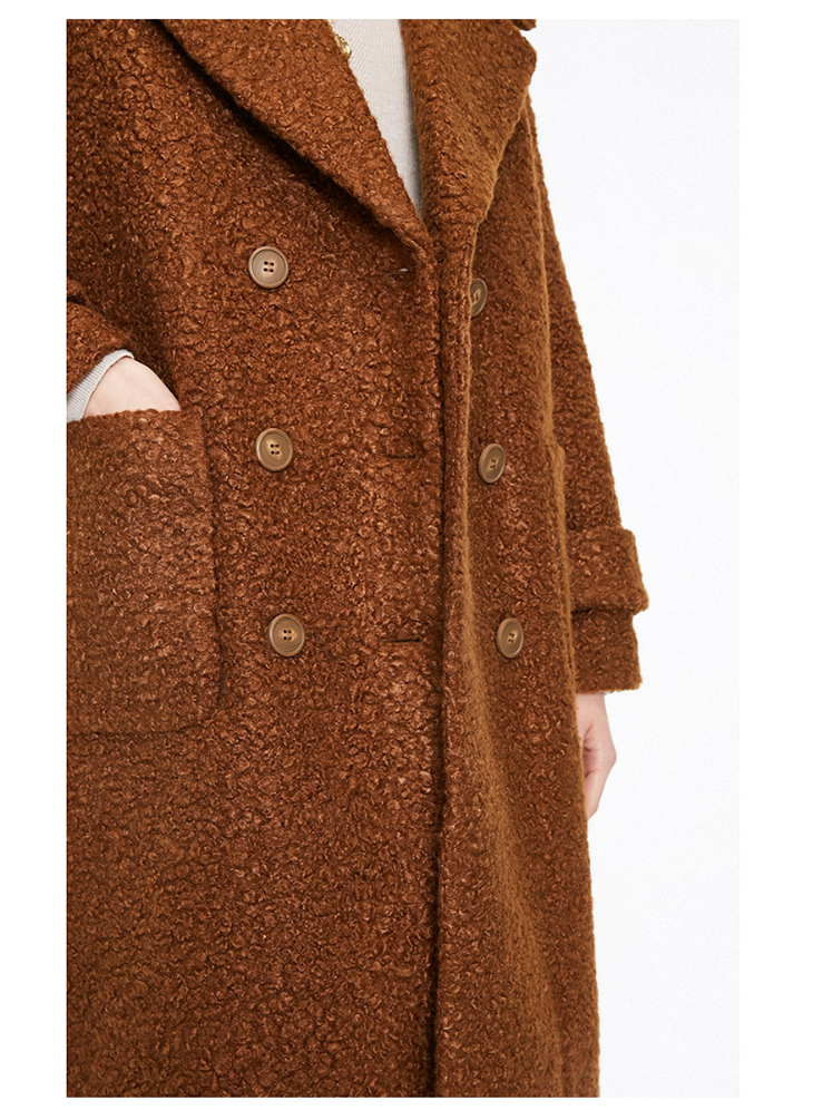 ONLY womens' winter new oatmeal Teddy hair long coat Loose version Rear slit hem design|118422505 9