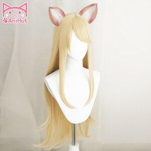 Image 2 - 【Anihut】LOL Game Ahri Cosplay Wig with ears KDA POP/STAR Ahri Cosplay Wig Women Long Straight Blonde Wig LOL KDA KPOP SKIN Hair