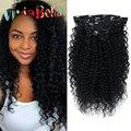 Афро-Американской Зажим В Выдвижениях Человеческих Волос Кудрявый Curly Clip Ins Джет Черные Вьющиеся Волосы Человека Зажим Для Волос в Волос расширения