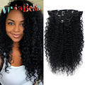 African American Clip In Human Hair Extensions Kinky Curly Clip Ins Jet Black Curly Hair Human Hair Clip in Hair Extensions