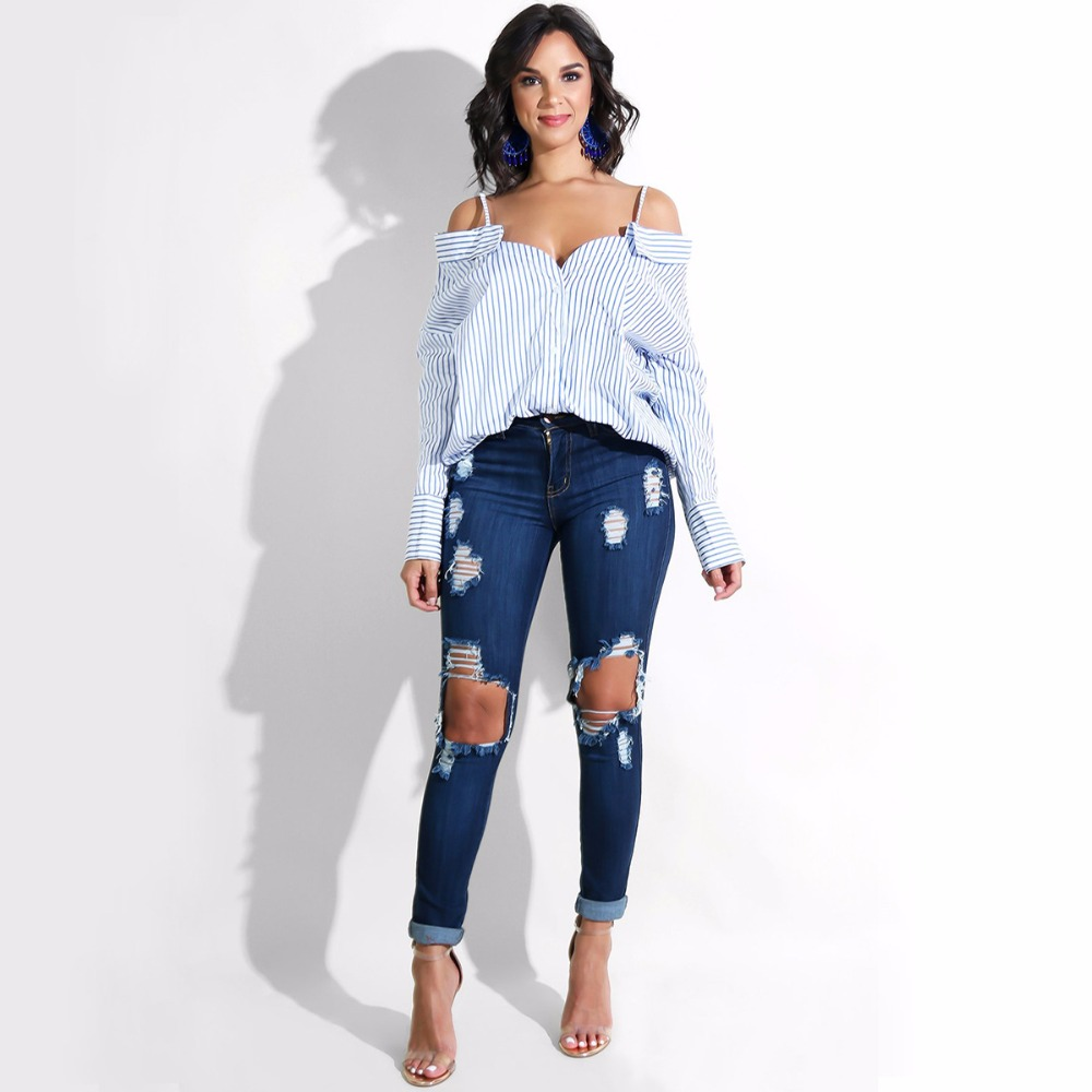 cf903659dfb24 Women s Blue White Cold Shoulder Striped Spaghetti Strap Long Sleeve Shirt  Side Cut Casual Tee Tops Daily Wear
