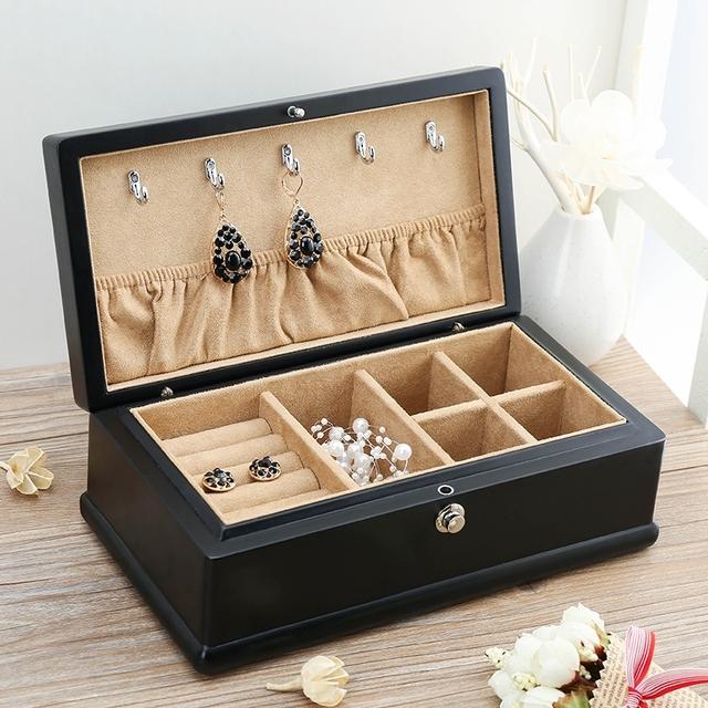 La Exportación de Madera de Ceniza Pintura Mate Caja De Joyería De Madera Caja de Colección de Joyas de Jade Hebilla de Cinturón Negro