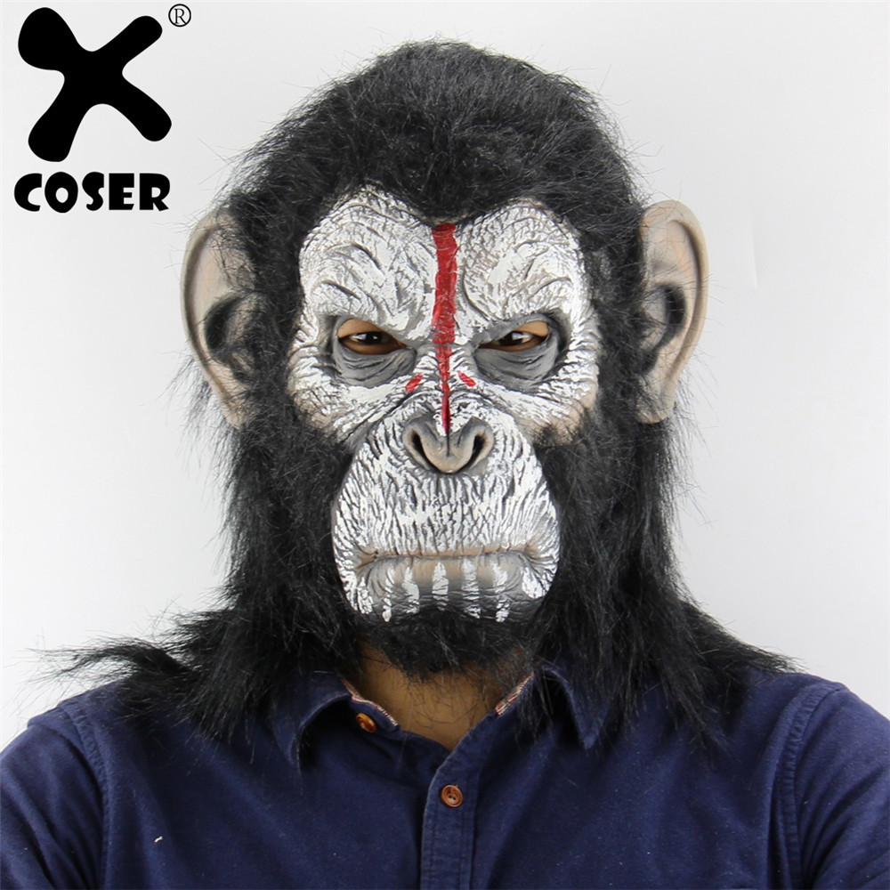 XCOSER King Kong Planet of the Apes Gorilla Mask Hood Gorillas Monkey Latex Animals Masks Blood Scary Halloween Party Prop