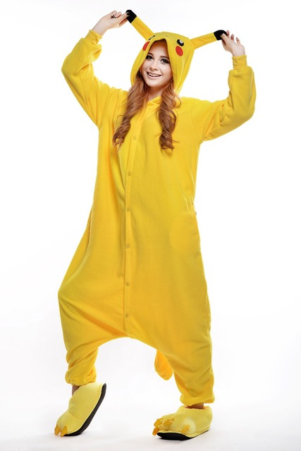Pokemon Pikachu Onesie  Plus Size Halloween Pikachu Costumes for Women and  Men  Adult Animal Footed Pajamas  Carnival Costumes 13172289db1d