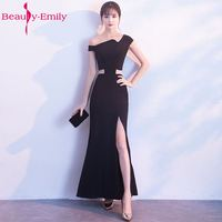 Beauty Emily Black Sexy Design Mermaid Evening Dresses 2018 V Neck Stain Prom Party Dresses Zipper