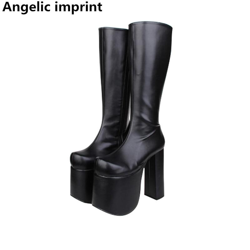 Angelic Imprint Handmade Women Mori Girl Lady Lolita Punk Motorcycle Boots Woman Super High Heel Pumps Platform Shoes 15cm 33-47