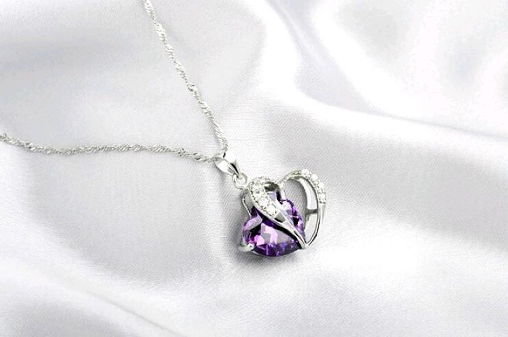 Small Crystal Heart Pendant Necklace